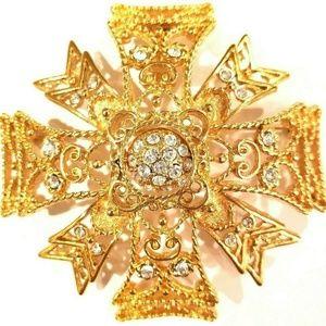 Kenneth Jay Lane Gold Plated Maltese Cross Brooch